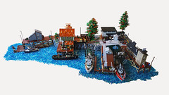 Brickton harbour (Konajra) Tags: harbour brickton boats boat ship lego minifigure village fishingboat train