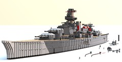 Battleship Scharnhorst WIP 1 (Thunderflare.) Tags: lego ldd bluerender scharnhorst battleship german kriegsmarine