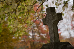 Cross & Autumn 3 (Keztik) Tags: nikon d3200 croix cross fall autumn tombstone orange cemetery cimetiere malvern sherbrooke lennoxville bokeh