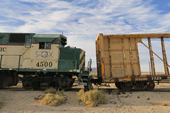 Bent (Arrowhead Fan) Tags: pacific imperial railroad desert line impossible san diego arizona eastern idaho northern inpr sdae pir baja bjrr centerbeam 4500 gp40 emd coyote wells ca california