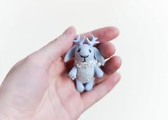 jackalope with sparkles (free_dragonfly) Tags: bunny tiny miniature cute animals rabbit jackalope blue toys