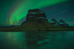 Northern Lights dance in Lómagnúpur (pajavi69) Tags: islandia iceland mountain nightscape nigh auroraborealis aurora green blue landscape nikon nature nikkor1424 d710 paisaje northernlight nocturna northern north noche agua montaña auroraboreal
