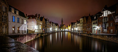 From the Koningstraat Bridge (VanveenJF) Tags: brugge bruges bridge street koningstraat sony a7ll voigtlander wideangle evening van eyck water time lights reflections old houses belgium belgie