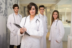 All about medical education in Germany (studyingermany) Tags: doctor medical hospital group team adult staff healthcare health happy male professional nurse medicine work people occupation white female woman specialist man uniform clinic smile job smiling young caucasian professionals attractive portrait teamwork stethoscope standing clinical leader indoors together handsome