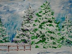 Winter Trees (BKHagar *Kim*) Tags: bkhagar painting paint acrylic art artwork tree trees snow winter acrylicpaper fence