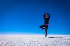 Practicing yoga on the Salar de Uyuni.