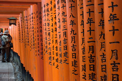 On the spiritual path (Abhi_arch2001) Tags: fushimi inari taisha kyoto spiritual path way arch arcade torii japan japanese architecture craft tradition culture red orange calligraphy lantern shrine vista columns wood wooden