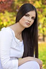 Nevena Uzurov - Girl in white (Nevena Uzurov) Tags: girl young beautiful autumn bokeh pretty nevenuzurov serbia portrait hair face
