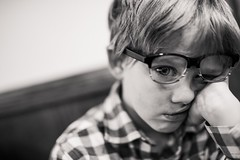 It's always Monday (aamith) Tags: boy glasses 50mm sad kids portrait blackandwhite monday