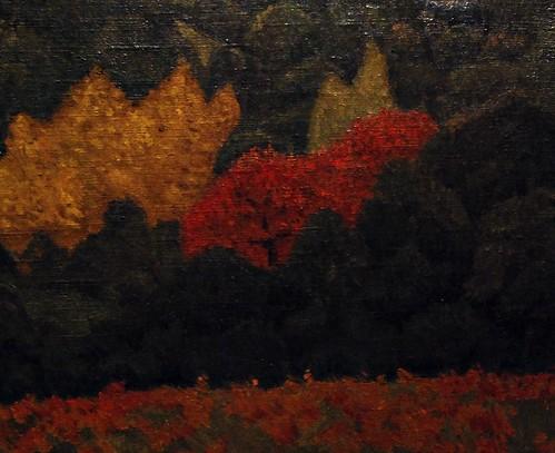 2 - Reims - Musée des Beaux-Arts - Paul Sérusier, Paysage arbre rouge, Huile sur toile, 1919 - Détail