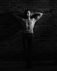 Preston Schollander downtown (Mitch Tillison Photography) Tags: male portrait portraiture fitness masculine urban pose posing chiaroscuro contrast black white bw muscle handsome hunk man mitchtillison photo photography nikon flashpoint godox strobe lighting dramatic