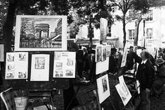 Montmartre, Paris (35mm) (jcbkk1956) Tags: worldtrekker converted blackwhite mono paintings painters artists painting montmartre france paris pentaxmx pentax analog 35mm scanned film