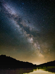 Milkyway over the lake (BalintL) Tags: milkyway milky way night sky stars light pollution dark site lake hungary ropoly zselic wonderful lonely samyang 21mm f14 wide open pano panorama summer memories calm peace peaceful silence woods trees forest