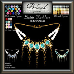 Beloved Jewelry: Liatris Necklace Texture Change (Kimbra McMillan) Tags: belovedjewelry gemstonejewellery pearlnecklace secondlife finejewelry gold silver diamond