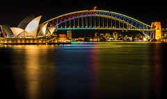 Sydney Opera House & Harbour Bridge by night (Victor Wong (sfe-co2)) Tags: architecture aussie australia australian bay bridge building city cityscape colorful colors destination dusk evening famous harbor harbour highresolution historic holiday icon landmark landscape lights longexposure monument new newsouthwales night nightshot nsw opera operahouse reflection scenic sea sky skyline skyscraper south sydney symbol timeexposure tourism travel urban view wales water tower