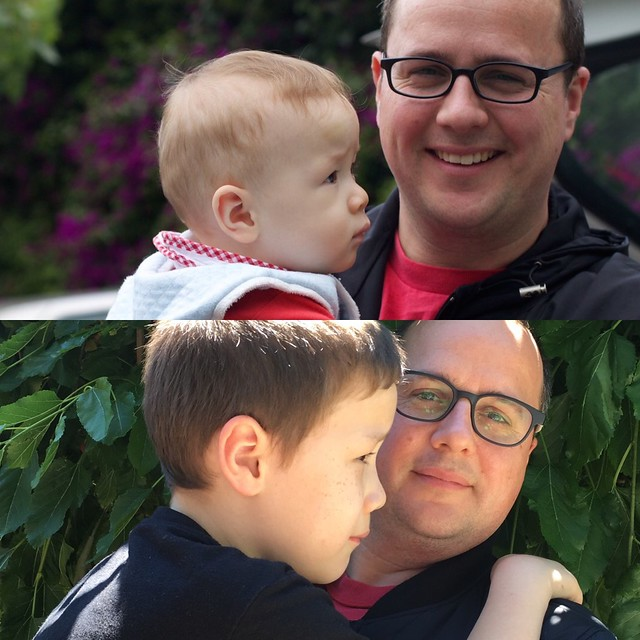 Alex and Dad, 2011 and Now