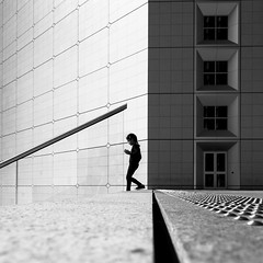 Lost In Geometry (torobala) Tags: street streetphotography urban city blackandwhite monochrome bnw bw silhouette person one paris france ladefense architecture line