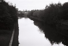 28 Aire and Calder Navigation, Knottingley, with Kellingley Colliery towers, 23 Oct 2017 (I ♥ Minox) Tags: film 2017 om1 om1n olympus olympusom1 olympusom1n hp5 ilfordhp5plus ilford 400asa yorkshire blackandwhite monochrome om1033 kellingley kellingleycolliery knottingley mining mine colliery westyorkshire