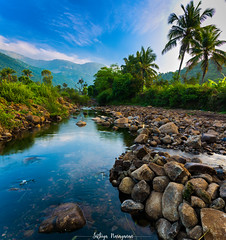 Life Pano (Sathiya Narayanan.M.M) Tags: river bed panoroma country side landscape stunning awesome coconut trees salem india pebbles water greenish sunrise mountains foothills philosophy