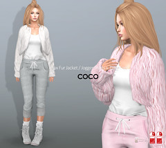 COCO_Fameshed_December (cocoro Lemon) Tags: coco new fameshed fauxfur jacket joggerpants tanktop secondlife fashion mesh maitreya slink