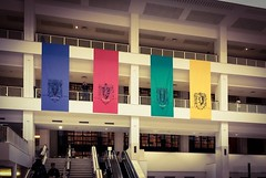 The British Library (Mike Turner) Tags: iphone iphonex britishlibrary thebritishlibrary library nationallibrary kingslibrary georgeiii study studying librarian euston london camden history museum artefacts harrypotter hogwarts banners historyofmagic exhibition atrium foyer