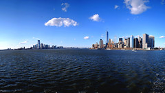 Sea & Buildings (R. WB) Tags: new york manhattan buildings sea boat view clear day cloud blue sky