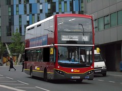 Not Red All Over (ultradude973) Tags: bus photoshop goahead london central volvo b5lh mcv evoseti mhv17 bu16oze x68 russell square west croydon limited stop hybrid double decker edit