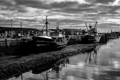Newlyn Harbour (Rogpow) Tags: cornwall newlyn harbour mono blackandwhite boats ships fishingboats quay reflections bnw