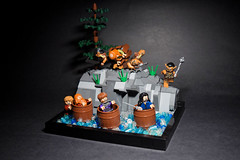 "The Hobbit- ""Barrel Riders"" (RagingPhotography) Tags: lego hobbit lord rings middle earth fantasy mystical magic dwarves bilbo baggins thorin oakenshield orcs mirkwood lotr barrel riders scene river moc fight conflict action exciting riding ragingphotography"