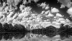Atlanta Pano (shutterclick3x) Tags: atlanta skyline blackandwhite bw water clouds
