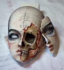 WIP - Face-up & mask (Mamzelle Follow) Tags: wip workinprogress bjdfaceup dollfaceup bjd abjd doll popodollramiel handmademask halfskullhead ezekiel