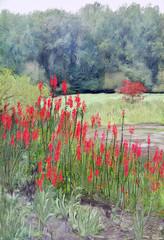 Red Blooms (Terry Pellmar) Tags: texture digitalart digitalpainting flowers trees landscape
