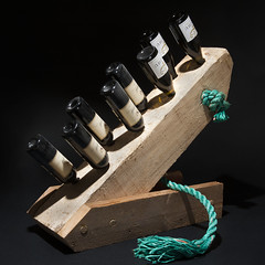 Wine rack made from a ship fender wood that I found (Jan-Kees de Meester) Tags: wine rack ship fender wood buffer bottles upcycling found recycling recycled upcycled