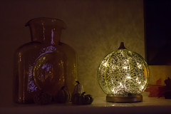 Amber Glass Vase and Lighted Pumpkin (marylea) Tags: oct24 2017 autumn mantle decorations lightedpumpkin amber glass vase