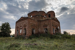 Abandoned Church. (Oleg.A) Tags: ancient autumn arch building destroyed church old outdoor rural evening villiage russia penzaregion field abandoned interior nature landscape tower orthodox inside architecture ruined wall cathedral grass saintmichaelthearchangelchurch catedral arc landscapes outdoors penzenskayaoblast ru