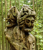 2 headed witch carving - hill of witches, Juodkrantė, Lithuania (Russell Scott Images) Tags: woodcarvings hillofwitches raganųkalnas outdoor trail sculptures forested sanddune curonianspit folklore pagan juodkrantė lithuania
