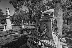 Angel of Grief (Hill) (Mike Schaffner) Tags: angel angelofgrief bw blackwhite blackandwhite burialground cemetery glenwood glenwoodcemetery grave gravestone graveyard grief memorial monochrome monument sculpture sorrow statue tombstone weeping houston texas unitedstates us