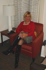 Patent tall boots (krislagreen) Tags: tg transgender crossdresser cd skirt cardi cami hose boots blackpatent femme feminzation femininized