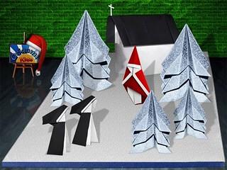 Origami Christmas Scene by Shizuo Saito
