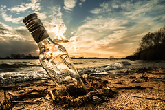 bottled sunset (bjdewagenaar) Tags: photography photograph photographer sony sonya58 sonyalpha sonyphotographer sonyimages sigma wideangle ultrawideangle beach sunset bottle landscape landscapephotography waterscape clouds water river sky waves raw lightroom dutch holland waal