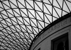 Ceiling Patterns (briburt) Tags: briburt london england britain british britishmuseum ceiling abstract pattern lattice bw blackandwhite monochrome skylight lines architecture roof window glass geometric shapes geometry lobby building museum wall