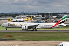 A6-EPQ - 2016 build Boeing B777-300ER, arriving on Runway 33 at Birmingham (egcc) Tags: 1423 42336 a6epq b773 b777 b777300 b777300er bhx birmingham boeing egbb ek elmdon emirates expo2020 lightroom triple triple7 uae