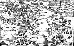 The Siege and Battle of Kinsale with the Lord Deputy`s Camp in the centre left, by Pacata Hibernia (Historystack) Tags: wars historyofireland battles earth europe modernhistory 17thcentury october2 year1601 solarsystem warsandterrorism 1600s milkyway nineyearswarireland siegeofkinsale kingdomofireland