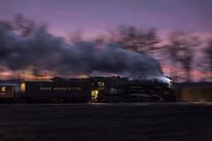 Steamy sunset (Scott Shields Photo) Tags: pere marquette 1225 owosso sri steam railroading institute berkshire lima locomotive railroad sunset