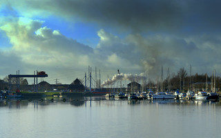 Cloudy scene at Preston Docks