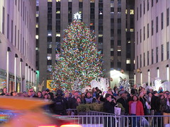 2017 Christmas Tree Rockefeller Center NYC 4471 (Brechtbug) Tags: 2017 christmas tree rockefeller center after lighting 12022017 nyc 30 rock new york city standing up above ice rink with snow shoveling workers skating holiday decoration ornaments night lights lites light oversize load ornament prometheus gold mythological statue sculpture fountain fountains post thanksgiving