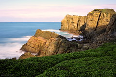 Winter Seascape (milton sun) Tags: nanyarockformations 南雅奇岩 newtaipeicity taiwan sceniccoast wave ocean shore seaside coast landscape outdoor clouds sky water rocks mountains rollinghills sea longexposure cliff nature meadows