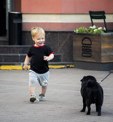 Hi! (wesolt) Tags: streets moscow russia boy child children childhood cute happy kid baby kiddy pug dog dogs urban