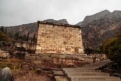 Delphi (CaptSpaulding) Tags: greece delphi old ancient historic building buildings statue stairs rain sky canon color contrast clouds closeup athens bank treasury ruins wall architecture