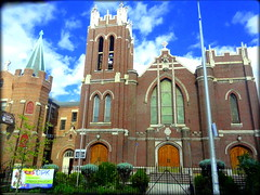 Walking along Bushwick Ave (dimaruss34) Tags: newyork brooklyn dmitriyfomenko image sky clouds church bushwickave st thomas episcopal chiurch
